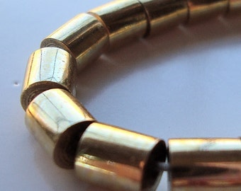 Brass Beads 6 x 6mm Golden Solid Raw Smooth Round Tubes - 12 Pieces