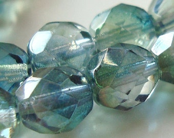 Czech Glass Beads 8mm Faceted Two Tone Teal Green Rounds - 12 Pieces