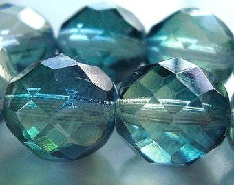 Czech Glass Beads 12mm Faceted 2 Tone Aqua Green Rounds - 6 Pieces