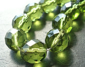 Czech Glass Beads 10mm Faceted Olive Green Rounds - 16 Pieces