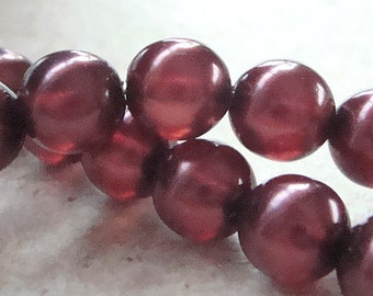 Czech Glass Beads 8mm  Burgundy Red Pearl Finish Smooth Rounds - 12 Pieces
