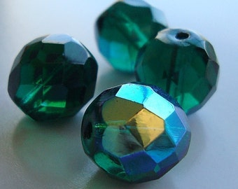 Czech Glass Beads 12mm Kelly Green w/ Aurora Borealis Faceted Rounds - 6 Pieces