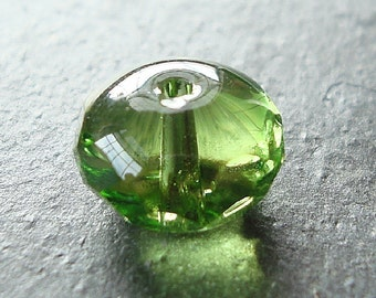 Czech Glass Beads 11 x 7mm Kiwi Peridot Green Faceted Rondelles - 8 Pieces