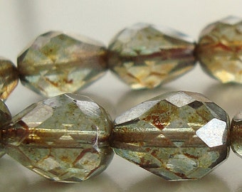 Czech Glass Beads 13 x 10mm Olive Green Faceted Picasso Teardrops - 8 Pieces