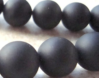 Onyx Beads 10mm Jet Black Smooth Frosted Matte Rounds - 8 Pieces