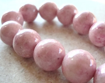 Fossil Beads 4mm Natural Susan G Koman Pink Smooth Round Stones - 8 Inch Strand