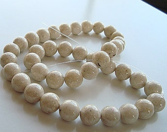 Fossil Beads 6mm Natural Snow White Smooth Round Stones - 8 inch Strand
