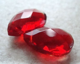 Glass Beads 18 X 12mm Brilliant Puffed Holiday Red Faceted Briolettess - 4 Pieces