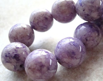 Fossil Beads 12mm Natural Lilac Purple Smooth Round Stones - 12 Pieces