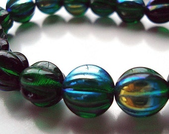 Czech Glass Beads 10mm Emerald Green AB Coated Round Melons - 12 Pieces