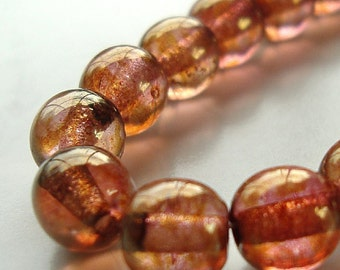 Czech Glass Beds 6mm Pink and Golden Finish Smooth Rounds - 12 Pieces