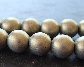 Czech Glass Beads 8mm Gold Satin Finish Smooth Rounds - 12 Pieces