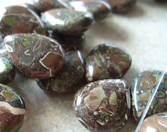 Jasper Beads 15 x 12mm Natural Green, Rust and Cream Camouflage Jasper Teardrops - 4 Pieces