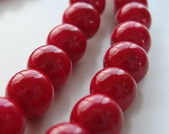 Fossil Beads 12mm Natural Tomato Red Smooth Round Stones - 8 Pieces
