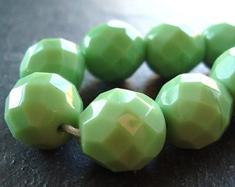 Czech Glass Beads 12mm Lime Green Opaque Faceted Rounds - 8 Pieces