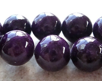 Fossil Beads 8mm Natural Sangria Purple Smooth Round Stones - 16 Pieces