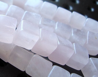 Rose Quartz Beads 6mm Natural Pink 3D Square Cubes - 8 Inch Strand