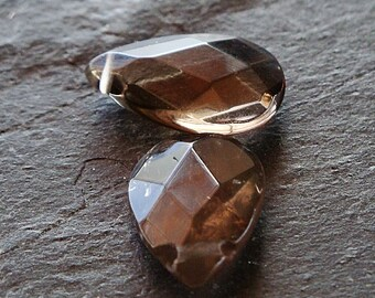 Smoky Quartz Beads 15 x 10mm Brown Faceted Teardrop Briolettes - (8 Pieces)