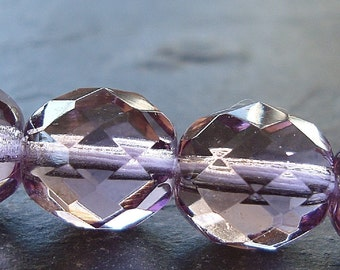 Czech Glass Beads 10mm Faceted Lilac Lavender Rounds - 8 Pieces