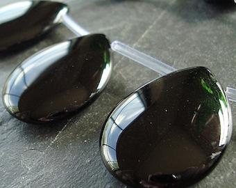 Onyx Pendant Bead 30 x 22mm Jet Black Smooth Teardrop Briolette - 2 Pieces