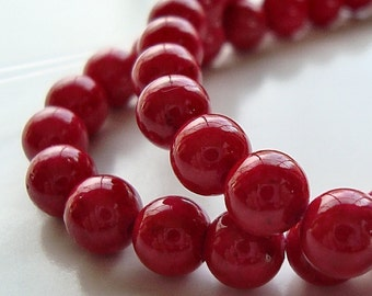 Fossil Round Beads 8mm Natural Tomato Red - 16 Pieces