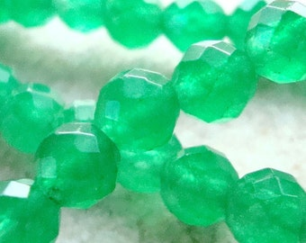 Jade Beads 8mm Kelly Green Faceted Semi Translucent Rounds - 8 Pieces