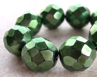 Czech Glass Beads 12mm Metallic Emerald Green Faceted Rounds - 6 Pieces