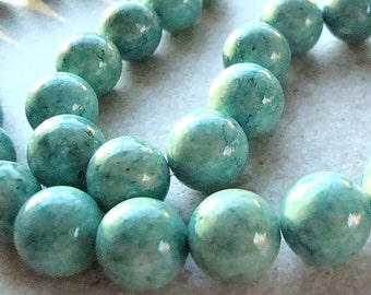 Fossil Beads 6mm Natural Mint Green Smooth Round Stones - 8 in Strand