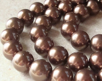 Shell Pearl Beads 8mm Lustrous Carmel Brown Smooth Round - 8 Pieces
