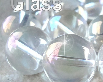 Czech Glass Beads 16mm Clear Iridescent AB Smooth Round Balls - 6 Pieces