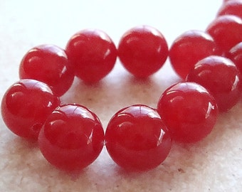 Jade Beads 10mm Raspberry Red Candy Smooth Rounds -  10 Pieces