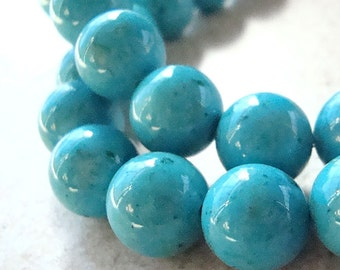 Fossil Beads 4mm Natural Aqua Blue Round Stones - 8 inch Strand