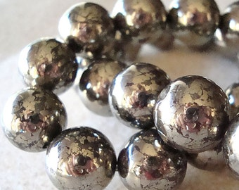 Pyrite Beads 12mm Shiny Golden Fools Gold Smooth Round - 6 Pieces