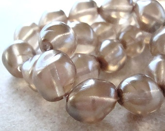 Czech Glass Beads 13 x 11mm Translucent Dusted Smoke Pearl Nuggets - 8 Pieces