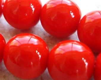 Czech Glass Beads 10mm Opaque Orange Smooth Rounds - 12 Pieces
