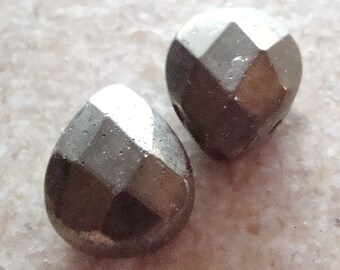 Pyrite Teardrop Beads 12 x 9mm Golden Fools Gold Faceted Briolettes - 4 Pieces