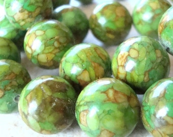 Turquoise Beads 14mm Lime Green Marbled Fire Turquoise Smooth Rounds - 6 Pieces