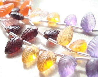 Gemstone Teardrop Beads 10 x 6mm Multi Semi-Precious Gems Top Side Drilled Hand Carved Leaves - 8 inch Strand