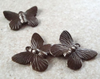 Brass Findings 20 x 15mm Vintaj Natural Brass Butterfly Charms - 2 pieces