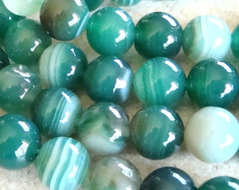 Agate Beads 8mm Sparkling Smooth Banded Agate Emerald Green Smooth Rounds - 8 in Strand