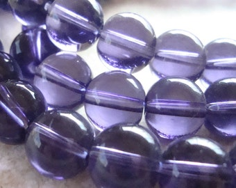 Glass Beads 10mm Grape Purple Smooth Rounds - 8 Pieces
