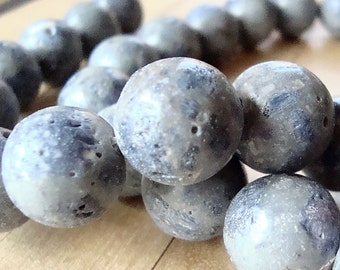 Coral Beads 14mm Faded Denim Blue Smooth  Round Sponges - 4 Pieces