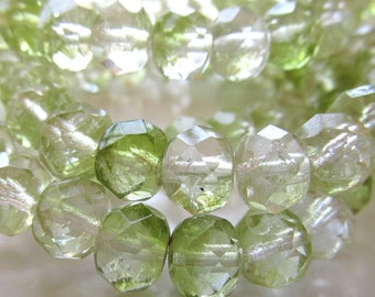 Czech Glass Beads 9 x 6mm Designer Two Tone Lime Green Faceted Rondelles - 8 Pieces