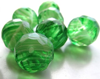 Czech Glass Beads 14mm Swirled Green & Lime Faceted Rounds - 6 Pieces
