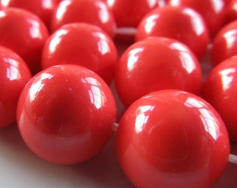Shell Pearl Beads 12mm Lustrous Dark Coral Smooth Rounds  - (8 Pieces)