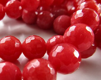 Jade Beads 10mm Strawberry Red Candy Faceted Rounds -  8 Pieces