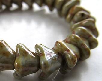 Czech Glass Beads 8 X 6 Opaque Shiny Molten Green Bell Flowers - 10 Pieces