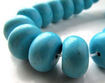 Turquoise Beads 14 X 8mm Aqua Blue Turquoise Smooth Rondelles - 6 Pieces