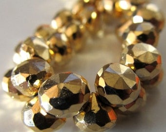 Pyrite Onion Beads 6 x 6mm Gold Coated Fools Gold Faceted Onions - 12 pieces