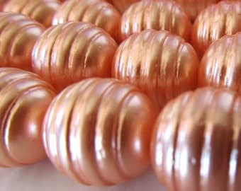 Shell Pearl Beads 15mm Lustrous Cantaloupe Peach Beehive Rounds  - 8 inch Strand